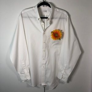 Men's White Easy Care Pinpoint Oxford Dress Shirt